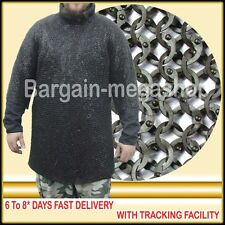 Christmas Presents Xxxl Black Flat Riveted Long Sleeves Chain Mail Shirt + Coif