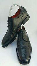 SANTONI Mens Black Leather Brogue Wingtip Oxfords Shoes 5403 US 11, UK 10