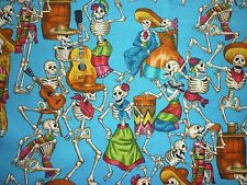 OFFCUT MEXICAN DAY OF THE DEAD PARTYING SKELETON FABRIC SKULL