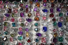 LOT DE 50PCS bague couleur plaqué argent solitaire zircon effet diamant