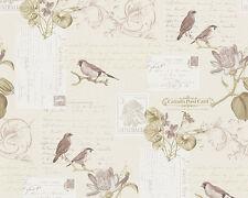 Vintage Tapete DEKORA NATUR 6 AS 95948-1 Vögel Postkarten Creme-Beige Braun Grün