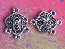 10 Swirl Marcasite Look Rune Charm 1 to 3 Connector Pendants For Jewelry Making