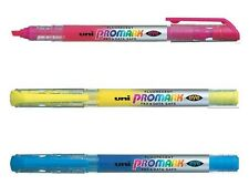 Uni-Ball USP-105 PROMARK Highlighter Pens Yellow, Pink, Blue Pack of 3