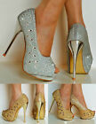 NEW Evening Party Prom Diamante Mirrored High Heel Platform Peep Toe Shoes Size