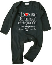 """""""I Love My Granny & Grandad This Much"""" Baby Romper Suit Boy Girl Grand Parents"""