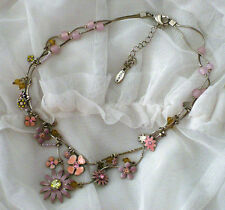 Pilgrim ~ Silver Necklace with Pink Purple Yellow Enamel Daisy Flowers Crystals