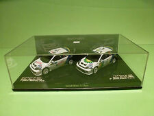 MINICHAMPS FORD FOCUS RS WRC - 1st+2nd MEXICO 2004 No 7 + 8 - WHITE 1:43 - NMIB
