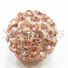 Shamballa Beads 100 Pcs Crystal Pave Disco Balls Fit Bracelet 10MM Champagne New