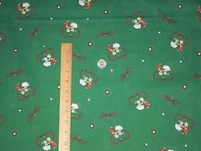 Dancing Couple Teddy Bear Red Heart & Ribbon Green Background OOP Fabric BTY