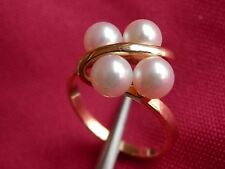 Mikimoto 18k Solid Yellow Gold Vintage Estate 4 Pearl Ring BEAUTIFUL!