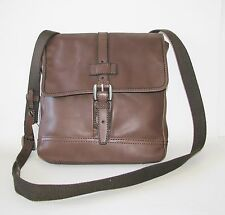 NEW-FOSSIL EMERSON NS CITY WALNUT BROWN LEATHER MESSENGER BAG CROSSBODY