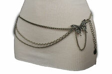 New Women Belt Fashion Silver Metal Chains Multi Butterfly Charm Fit Size Xs S M