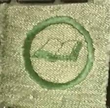 1928-1933 Girl Scout Badge SCRIBE BOOKBINDER- GREY GREEN SQUARE