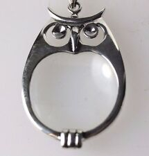 GEORG JENSEN STYLE SILVER OWL PENDANT MAGNIFYING GLASS