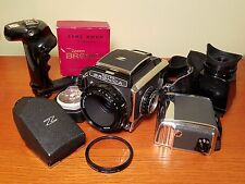 Zenza Bronica S2, extra film back, lens hood, prism viewfinder, and more!