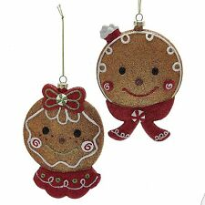 Gingerbread Cookie Face Christmas Ornaments Set 2 ka d2779 NEW Shelley B