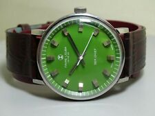 VINTAGE FAVRE LEUBA GENEVE SEACHIEF WINDING MENS Green DIAL WATCH E51 OLD USED