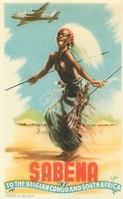 SABENA BELGIAN AIRLINES CONGO SOUTH AFRICA NATIVE WARRIOR LUGGAGE LABEL