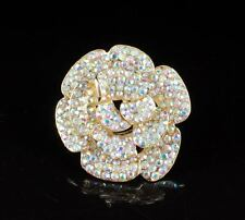 HUGE ROSE AB WHITE AUSTRIAN RHINESTONE CRYSTAL FASHION COCKTAIL RING R801G GOLD