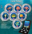 TROPICAL CORAL FISHES - 7 piece set with box & COA, Cook Islands, Enameled coins