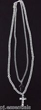 Silver and White Double Chain Necklace with Cross Pendant