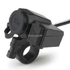 12V USB Socket Dual Charging Waterproof Connector Motorcycle Cigarette Lighter