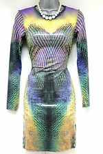 Stunning Topshop Liquid Print Long Sleeve Bodycon Evening Dress Size 8