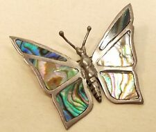 Vtg Sterling Silver Butterfly Brooch Abalone Shell Inlay Pin Signed Mexico Taxco
