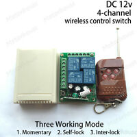 DC 12V 10A 4CH Channel Wireless RF Remote Control Switch Transmitter + Receiver