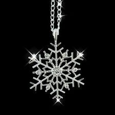 Silver Frozen Snowflake Crystal Necklace Pendant Chain Christmas Gift E7