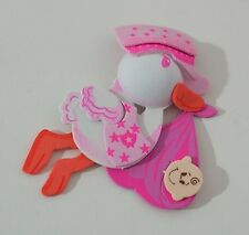 "3"" baby shower foam decoration-STORK WITH BABY PINK GIRL - Cigüeña 10 PCS"