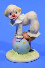 Lefton hand painted porcelain clown on ball 1984