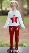 "Clothes for Curvy Barbie Doll. Blouse ""Star"" and metallic red leggings for Dolls"