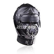 Open O Ring Muzzle Mouth Adult Leather Locking Full Hood Mask Padded Blindfold