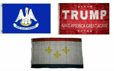 3x5 Trump Red & State Louisiana & City New Orleans Wholesale Set Flag 3'x5'