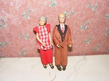 Alte Puppen-Opa+Oma-70er Jahre-Lundby-Lisa-Puppenhaus-Puppenstube-1:18