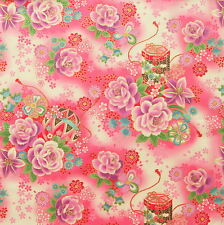 [Precut] 48x55cm Pink Romantic Floral Temari Japanese Cotton Fabric - PC631