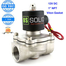 """U. S. Solid 1"""" Stainless Steel Electric Solenoid Valve 12V DC Normally Closed"""