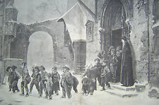 Children Leaving a Roman Catholic School Engraving 1875 Harper's Weekly