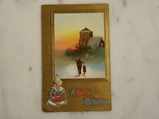 Antique A Merry Christmas Church & Drummer Boy Gold Embossed Postcard