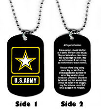 DOG TAG NECKLACE - U.S. Army Prayer for Soldiers Medical Jesus God Hero Warrior