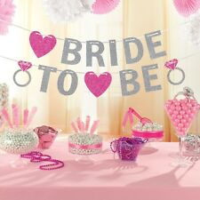 BRIDE TO BE GLITTER BANNER BUNTING DECORATION HEN NIGHT PARTY ACCESSORIES FAVOUR