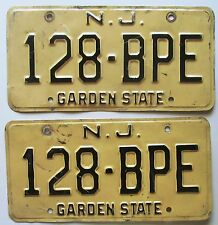New Jersey 1974 License Plate PAIR # 128-BPE