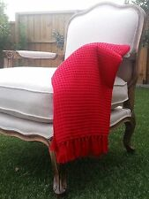 Red Waffle Weave Throw Rug Blanket 100% Cotton 127x 152 cm