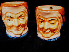 "Vintage Set of 2 Wales China Toby Jug ""Jester"" Character  *"