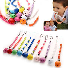 Girls Boys Pacifier Soother Dummy Nipple Wood Bead Leash Strap Chain Clip Holder