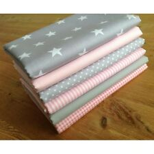 Blender fabric GREY & BABY PINK Cotton Fat Quarter Bundle SPOTS STARS STRIPES