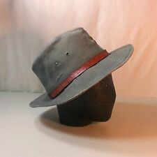 Schuman Sullivan Hat Indiana Jones Style Canvas Fedora. Leather Band.  Size Med.