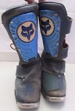 Vintage Fox Racing AXO Motocross Boots Blue Racing Old School Dirt Bike