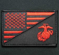 AMERICAN USA FLAG MARINE CORPS USMC BLACK OPS RED TACTICAL VELCRO MORALE PATCH